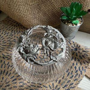 Vintage Pewter Roses Trinket or Potpourri Vase Jar